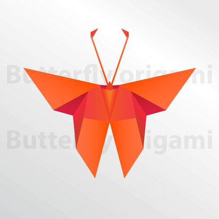Butterfly origami paper art on white background illustration.