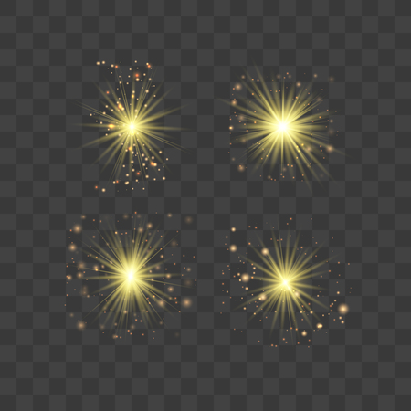 Gold glowing light set explodes on a transparent background. with ray. Transparent shining sun, bright flash.Glow light effect. Star burst with sparkles.