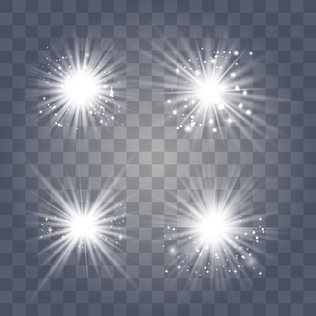 White glowing light explodes on a transparent background. Sparkling magical dust particles. Bright Star. Transparent shining sun, bright flash. Vector sparkles. To center a bright flash. Ilustração