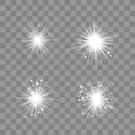 Weißes leuchtendes Licht explodiert auf einem transparenten Hintergrund. Funkelnde magische Staubpartikel. Heller Stern. Transparent strahlende Sonne, heller Blitz. Vektor funkelt. Einen hellen Blitz zentrieren.