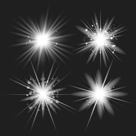 White glowing light set explodes on a transparent background. with ray. Transparent shining sun, bright flash.Glow light effect. Star burst with sparkles. Ilustração