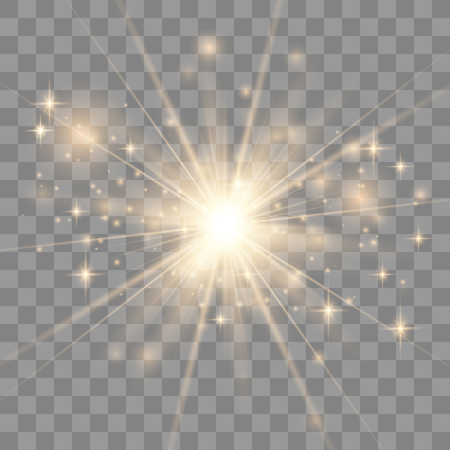 Gold glowing light explodes on a transparent background. Sparkling magical dust particles. Bright Star. Transparent shining sun, bright flash. Vector sparkles. To center a bright flash.
