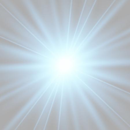 Blau leuchtende Lichtexplosion mit transparentem. Vektorillustration für coole Effektdekoration mit Strahlfunkeln. Heller Stern. Transparenter Glanzgradient-Glitter, helles Aufflackern. Blendungstextur. Vektorgrafik