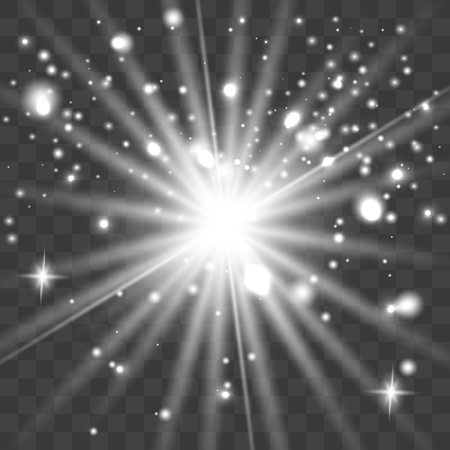 Esplosione di scoppio di luce incandescente set bianco con trasparente. Illustrazione vettoriale per decorazione effetto cool con scintillii di raggio. Stella luminosa. Glitter sfumato trasparente brillante, bagliore luminoso. Vettoriali