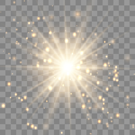 Gold glowing light explodes.Sparkling magical dust particles. on a transparent background. Sparkling magical dust particles. Bright Star. Transparent shining sun, bright flash.