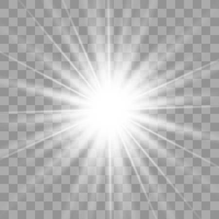 White glowing light burst explosion with transparent. Vector illustration for cool effect decoration with ray sparkles. Bright star. Transparent shine gradient glitter, bright flare. Glare texture. Illustration