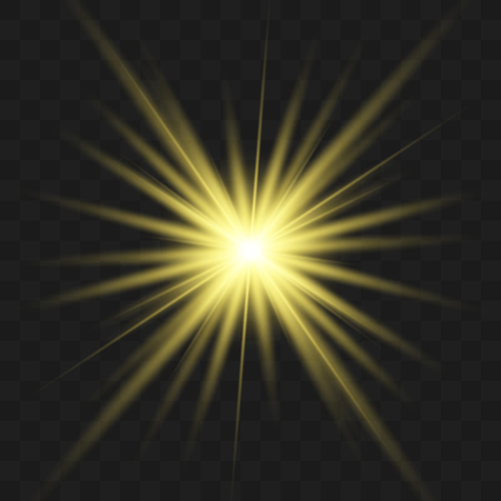 Star gold explodes on transparent background. Sparkling magic dust particles. Bright Star. The transparent shining sun, bright flash.