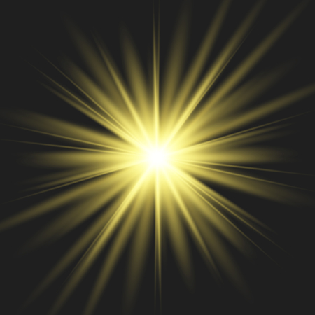 Star gold explodes on transparent background. Sparkling magic dust particles. Bright Star. The transparent shining sun, bright flash. Vettoriali