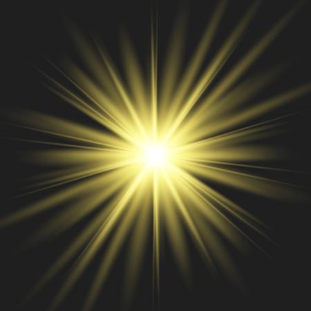 Sterngold explodiert auf transparentem Hintergrund. Funkelnde magische Staubpartikel. Heller Stern. Die transparente strahlende Sonne, heller Blitz. Vektorgrafik