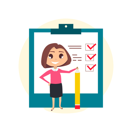 illustration Happy of a businesswoman making a business checklist from her brilliant idea with notepad and pencil.