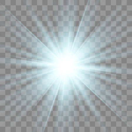 Star blue explodes on transparent background. Sparkling magic dust particles. Bright Star. The transparent shining sun, bright flash.
