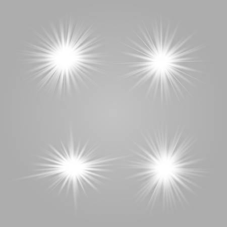 Set white of bright beautiful stars. Light effect Bright Star. Beautiful light for illustration. Christmas star. Vector sparkles on transparent background.White glowing light