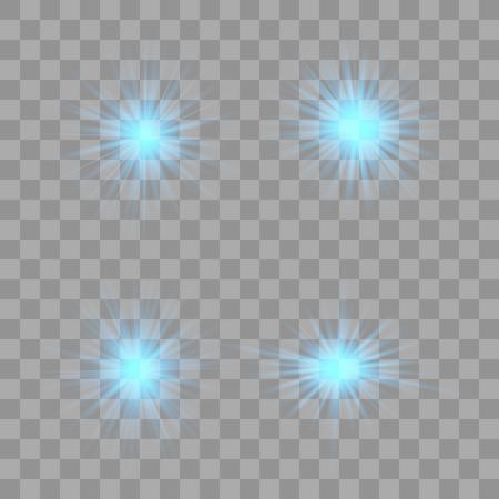 Blue glow light effect. Christmas flash. Vector illustration.