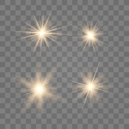 Gold glow light effect. Christmas flash. Vector illustration. 向量圖像