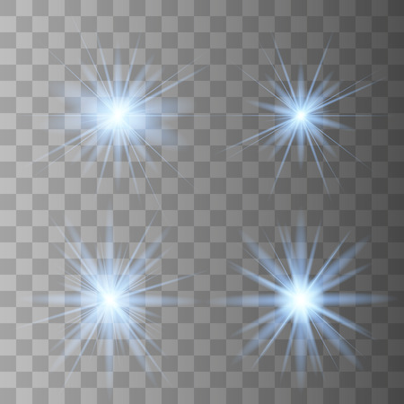 Blue glowing light set explodes on a transparent background. Sparkling magical dust particles. Bright Star. Transparent shining sun, bright flash. Vector sparkles. To center a bright flash.
