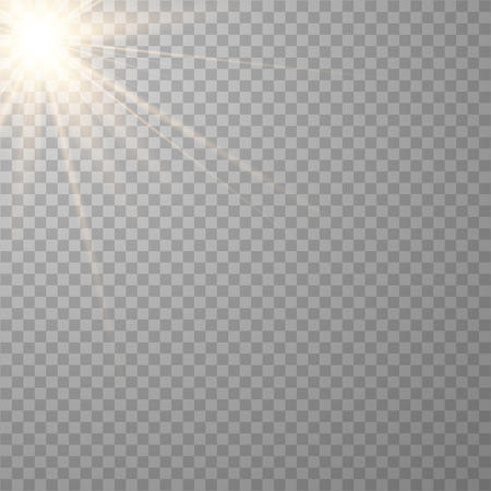Vector transparent sunlight special lens flash light effect.front sun lens flash. Vector blur in the light of radiance. Horizontal stellar rays and searchlight.