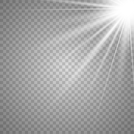 Light flare special effect with rays of light and magic sparkles. Glow transparent vector light effect set, explosion, glitter, spark, sun flash, burst.