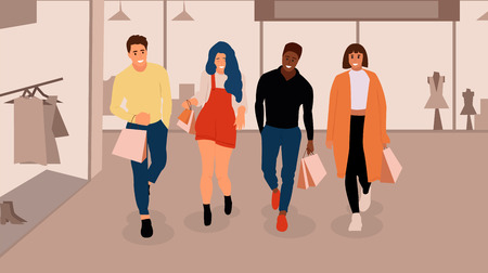 Happy shopping people with fashion shop interior. Vector background.