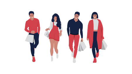 Happy shopping people. Vector background.