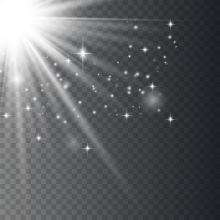 White glowing light explodes on a transparent background. Sparkling magical dust particles. Bright Star. Transparent shining sun, bright flash. Vector sparkles. To center a bright flash. Ilustrace