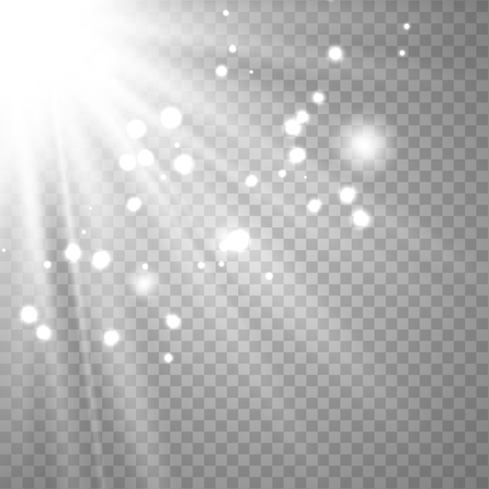 White glowing light explodes on a transparent background. Sparkling magical dust particles. Bright Star. Transparent shining sun, bright flash. Vector sparkles. To center a bright flash. 일러스트