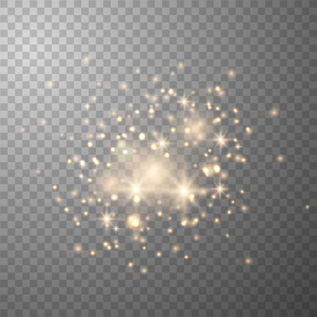 Glow light effect.  Sparkling texture. Star dust sparks in explosion on transparent. Vector gold glitter particles background effect for luxury greeting rich card. Ilustração