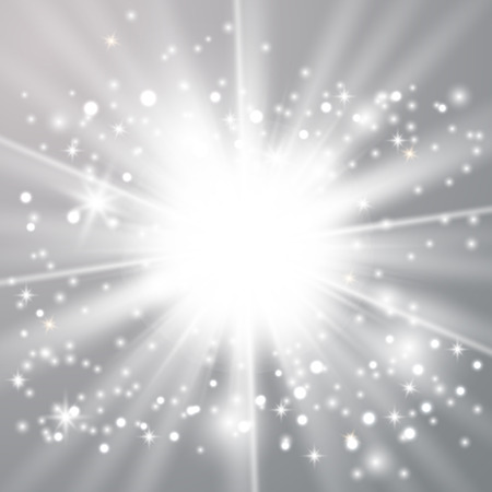 Star burst with gold sparkles.Sun. White glow light effect
