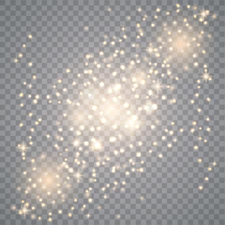 Effet de lumière luminescente. Texture pétillante. Des étincelles de poussière d'étoile en explosion sur transparent. Effet de fond de particules de paillettes d'or de vecteur pour carte riche de voeux de luxe.