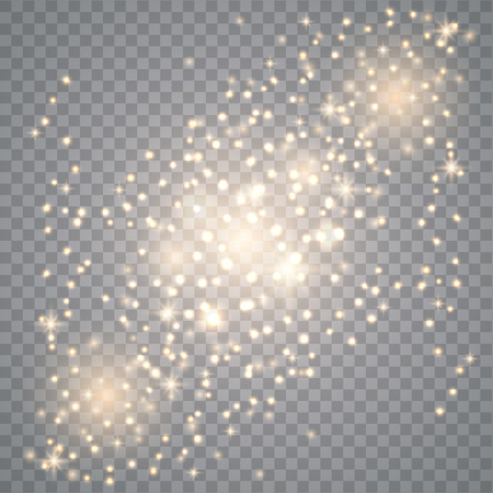 Glow light effect. Sparkling texture. Star dust sparks in explosion on transparent. Vector gold glitter particles background effect for luxury greeting rich card.