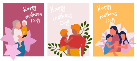 Mother ms day greeting cards set, vector illustration in flat style. Mom with her baby.