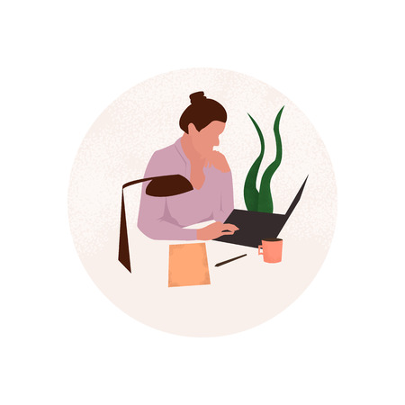 Office workplace. Women working in the office. Vector icon Stock Illustratie