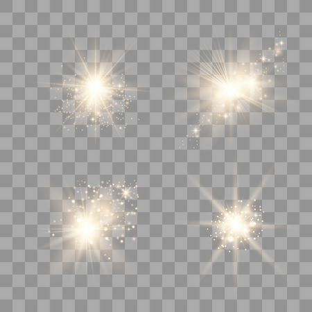 Set of golden glowing lights effects. Sens flare, explosion, glitter, line, sun flash, spark and stars
