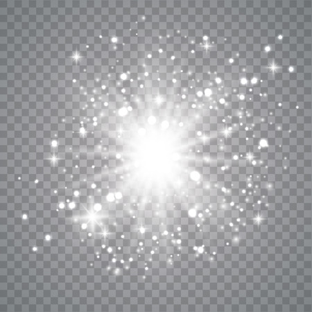 White light explosion isolated on dark background vector illustration. Effect star and sparkle, flash and shine golden. Ilustrace