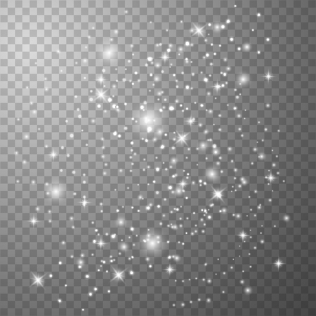 White sparks and golden stars. Glitter special light effect. White star dust trail sparkling particles isolated on transparent background. Imagens - 121277888