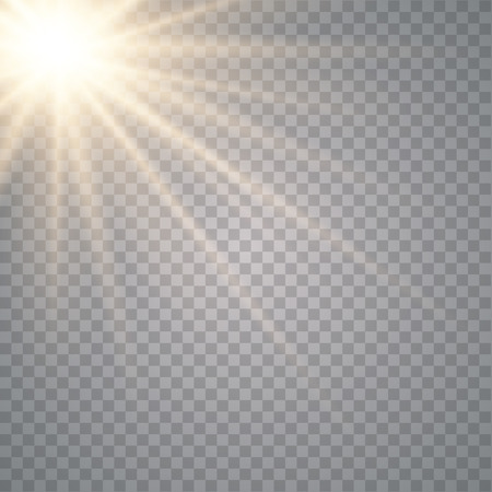 Glowing sunlight isolated on transparent background.
