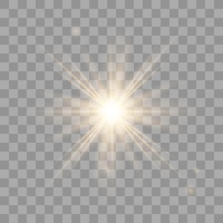 Sole vettoriale splendente d'oro con raggi trasparenti. Effetto di detonazione giallo. Flash solare con raggi e riflettori. Stella scoppiata con scintillii su sfondo trasparente.
