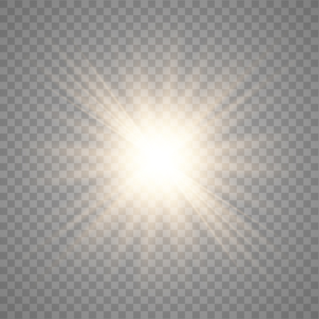 Golden shining vector sun with transparent rays. Yellow detonation effect. Sun flash with rays and spotlight. Star burst with sparkles on transparent background. Stock Illustratie