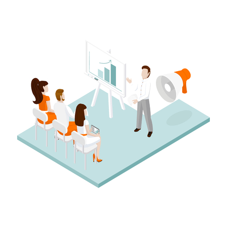 Isometric office team. Vector illustration of isometric business people. Illustration