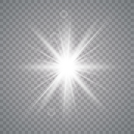 White shining vector sun with transparent rays. Yellow detonation effect. Star burst with sparkles on transparent background.