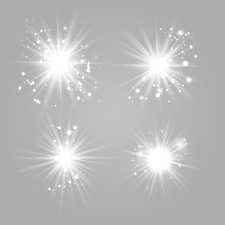 Shining star set gold, solar particles and sparks with a backlight effect, bokeh, lights, sparkles and sparkles. On a dark background, transparent. Vector