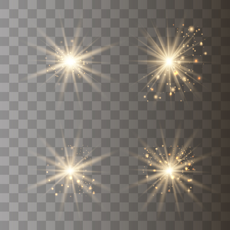 Shining star set gold, solar particles and sparks  with a backlight effect, bokeh, lights, sparkles and sparkles. On a dark background, transparent