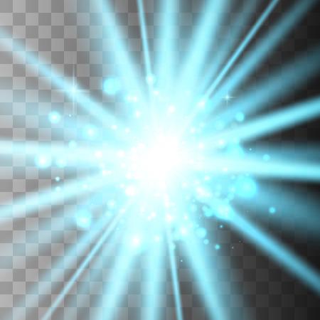 Étoile brillante sertie d'or, de particules solaires et d'étincelles avec un effet de rétroéclairage, de bokeh, de lumières, d'étincelles et d'étincelles. Sur fond sombre, transparent Vecteurs