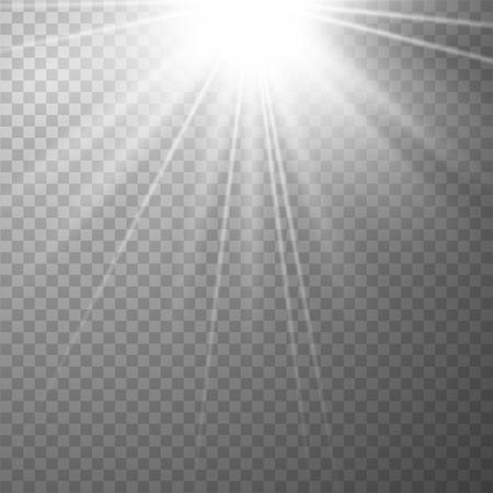 Shiny sunburst of sunbeams on the abstract sunshine background and transparency background.transparent sunlight special lens flare light effect. Vector illustration