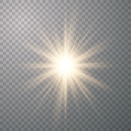 Star burst with glow light effect with rays and shine particles Ilustração