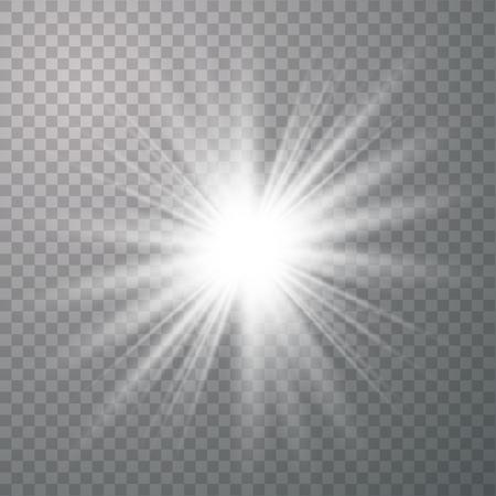 White Glow light effect. Star burst with sparkles. Vector illustration explosion with transparent. Vector illustration for cool effect decoration with ray sparkles. Ilustração
