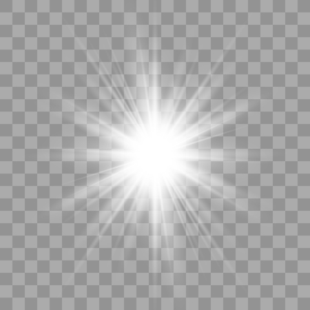 Efecto de luz White Glow. Estrella estalló con destellos. Explosión de ilustración vectorial con transparente. Ilustración de vector de decoración de efecto fresco con destellos de rayos. Ilustración de vector