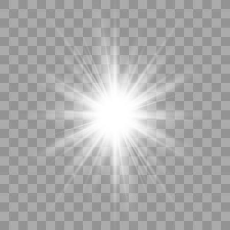 Effetto luce bagliore bianco. Stella scoppiata con scintillii. Esplosione di illustrazione vettoriale con trasparente. Illustrazione vettoriale per decorazione effetto cool con scintillii di raggio. Vettoriali