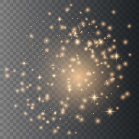 Sun sparks glitter special light effect. Sparkle on transparent background. Christmas abstract pattern. Sparkling magic dust particles Ilustração