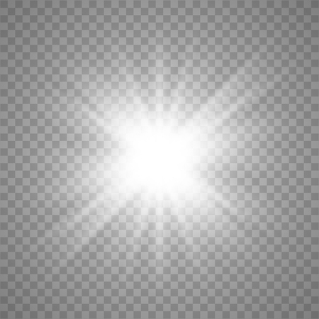 White Glow light effect. Star burst with sparkles. Vector illustration explosion with transparent. Vector illustration for cool effect decoration with ray sparkles. 向量圖像