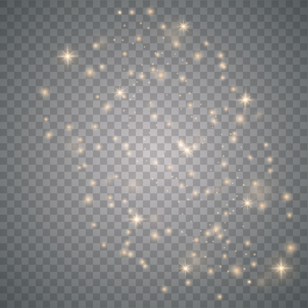 Sun sparks glitter special light effect. Sparkle on transparent background. Christmas abstract pattern. Sparkling magic dust particle
